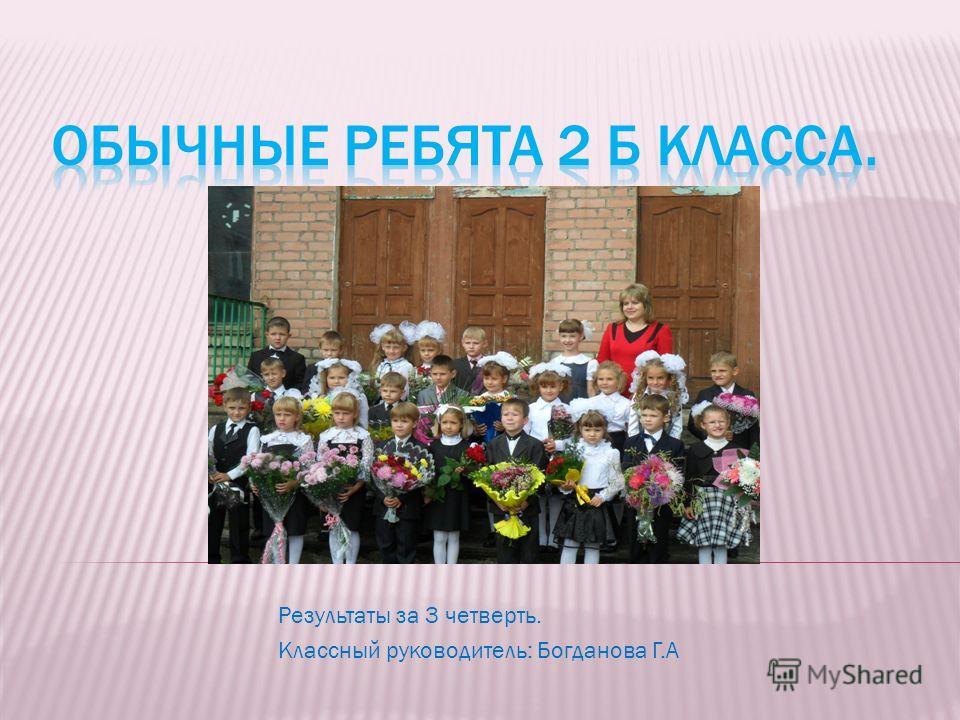 Результаты за 3 четверть. Классный руководитель: Богданова Г.А