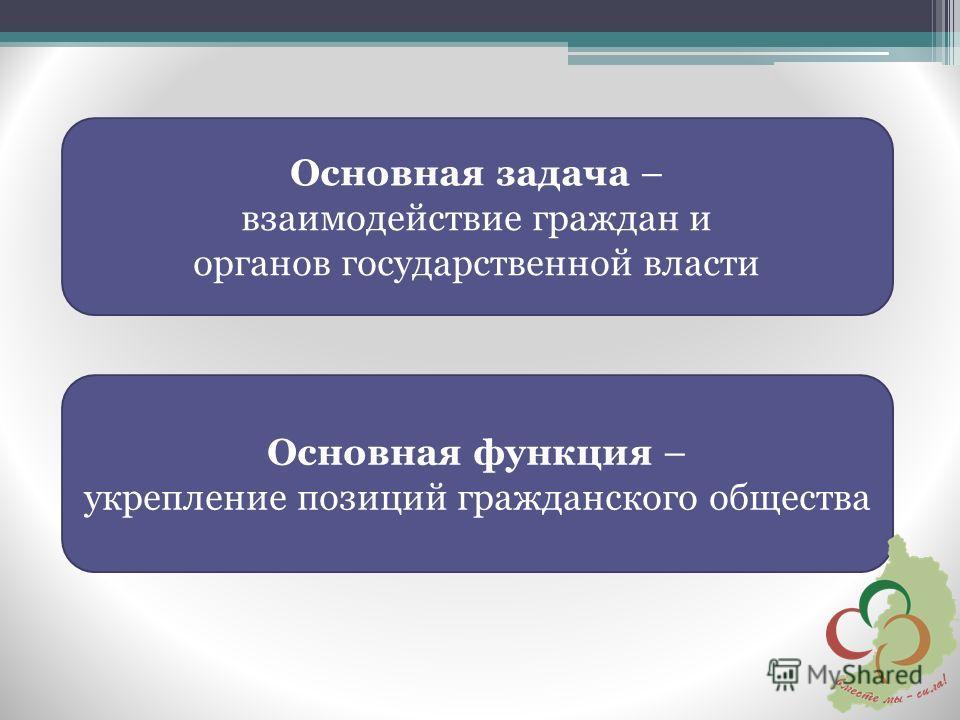 Основная задача – взаимодействие граждан и органов государственной власти Основная функция – укрепление позиций гражданского общества