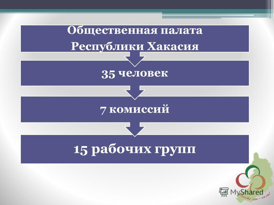 15 рабочих групп 7 комиссий 35 человек Общественная палата Республики Хакасия