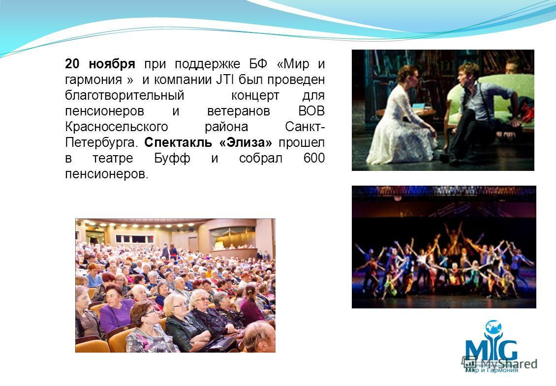 20 ноября при поддержке БФ «Мир и гармония » и компании JTI был проведен благотворительный концерт для пенсионеров и ветеранов ВОВ Красносельского района Санкт- Петербурга. Спектакль «Элиза» прошел в театре Буфф и собрал 600 пенсионеров.