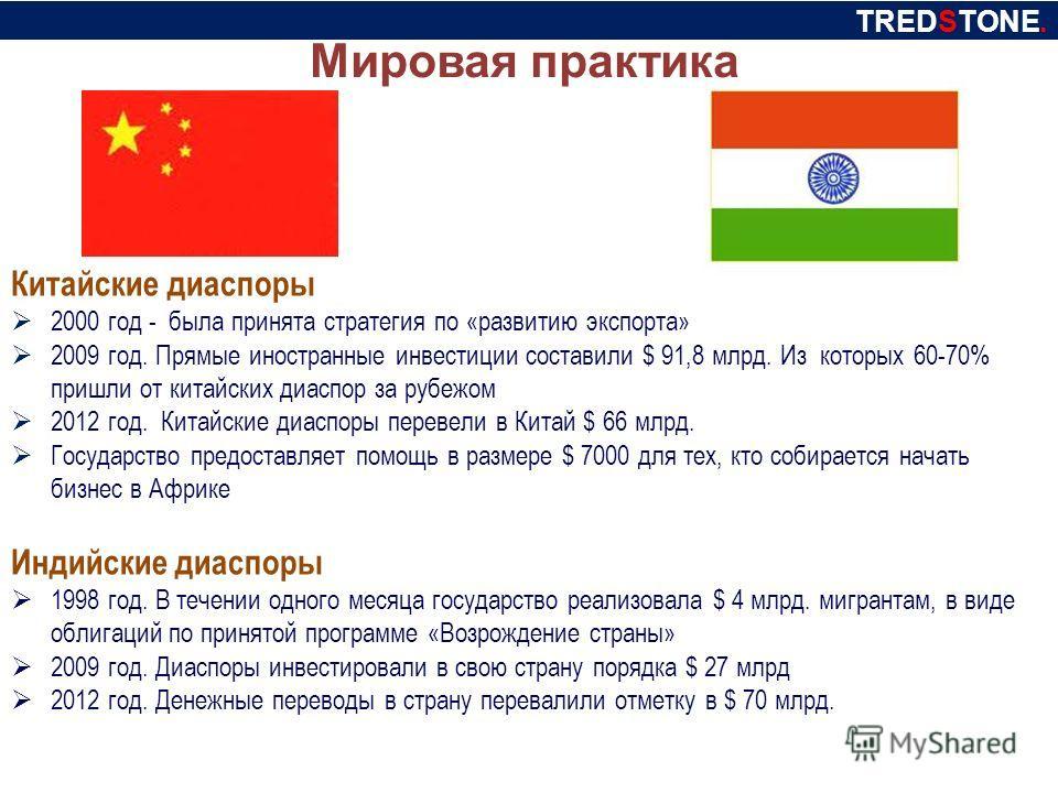 Мировая практика Китайские диаспоры 2000 год - была принята стратегия по «развитию экспорта» 2009 год. Прямые иностранные инвестиции составили $ 91,8 млрд. Из которых 60-70% пришли от китайских диаспор за рубежом 2012 год. Китайские диаспоры перевели