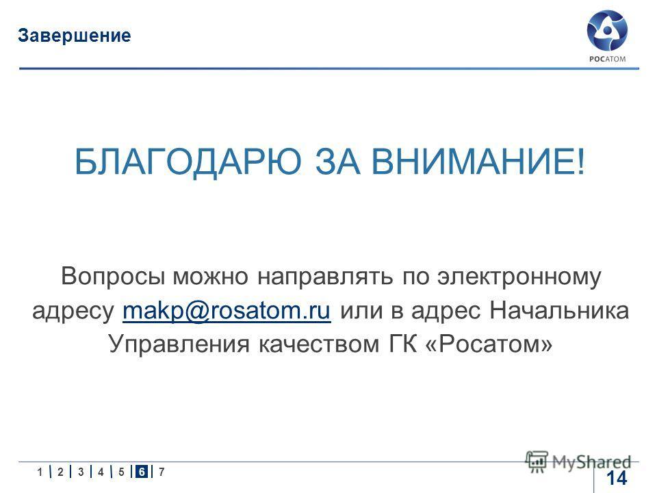 1234567 14 Завершение БЛАГОДАРЮ ЗА ВНИМАНИЕ! Вопросы можно направлять по электронному адресу makp@rosatom.ru или в адрес Начальника Управления качеством ГК «Росатом»makp@rosatom.ru
