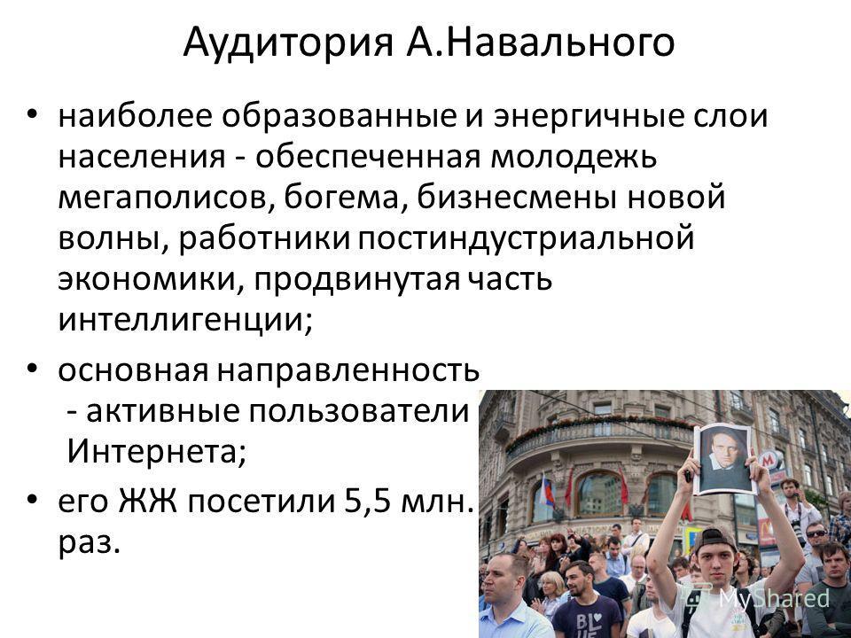 Аудитория А.Навального наиболее образованные и энергичные слои населения - обеспеченная молодежь мегаполисов, богема, бизнесмены новой волны, работники постиндустриальной экономики, продвинутая часть интеллигенции; основная направленность - активные