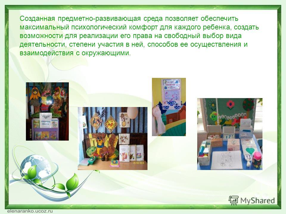 Созданная предметно-развивающая среда позволяет обеспечить максимальный психологический комфорт для каждого ребенка, создать возможности для реализации его права на свободный выбор вида деятельности, степени участия в ней, способов ее осуществления и