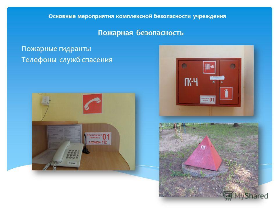 Основные мероприятия комплексной безопасности учреждения Пожарная безопасность Пожарные гидранты Телефоны служб спасения