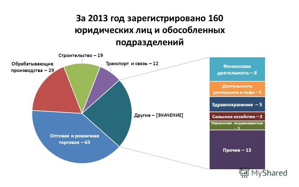 За 2013 год зарегистрировано 160 юридических лиц и обособленных подразделений
