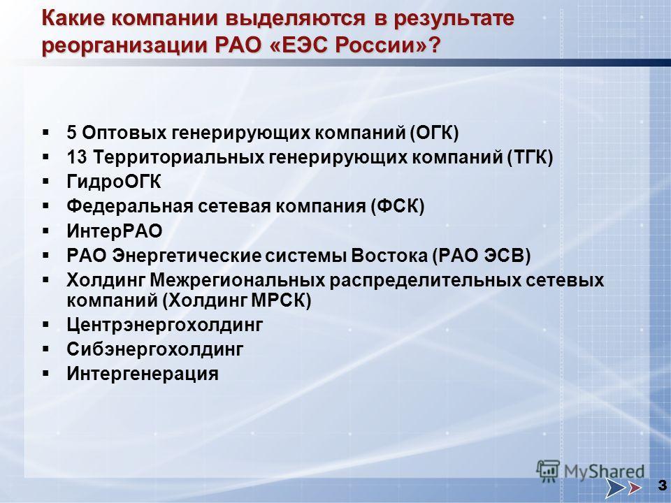 3 Какие компании выделяются в результате реорганизации РАО «ЕЭС России»? 5 Оптовых генерирующих компаний (ОГК) 13 Территориальных генерирующих компаний (ТГК) ГидроОГК Федеральная сетевая компания (ФСК) ИнтерРАО РАО Энергетические системы Востока (РАО