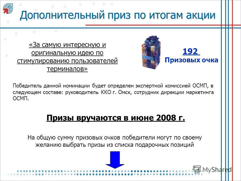 «За самую интересную и оригинальную идею по стимулированию пользователей терминалов» 192 Призовых очка На общую сумму призовых очков победители могут по своему желанию выбрать призы из списка подарочных позиций Призы вручаются в июне 2008 г. Дополнит