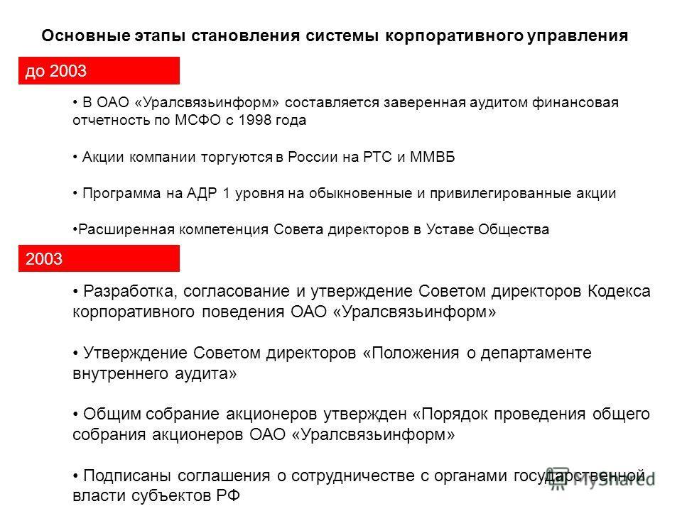 Основные этапы становления системы корпоративного управления до 2003 В ОАО «Уралсвязьинформ» составляется заверенная аудитом финансовая отчетность по МСФО с 1998 года Акции компании торгуются в России на РТС и ММВБ Программа на АДР 1 уровня на обыкно