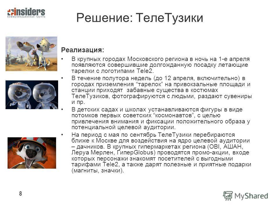 Решение: Теле Тузики Реализация: В крупных городах Московского региона в ночь на 1-е апреля появляются совершившие долгожданную посадку летающие тарелки с логотипами Tele2. В течение полутора недель (до 12 апреля, включительно) в городах приземления