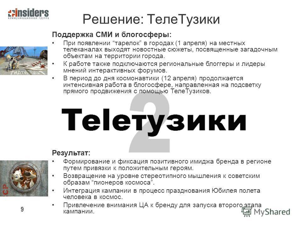 Решение: Теле Тузики Поддержка СМИ и блогосферы: При появлении тарелок в городах (1 апреля) на местных телеканалах выходят новостные сюжеты, посвященные загадочным объектам на территории города. К работе также подключаются региональные блоггеры и лид