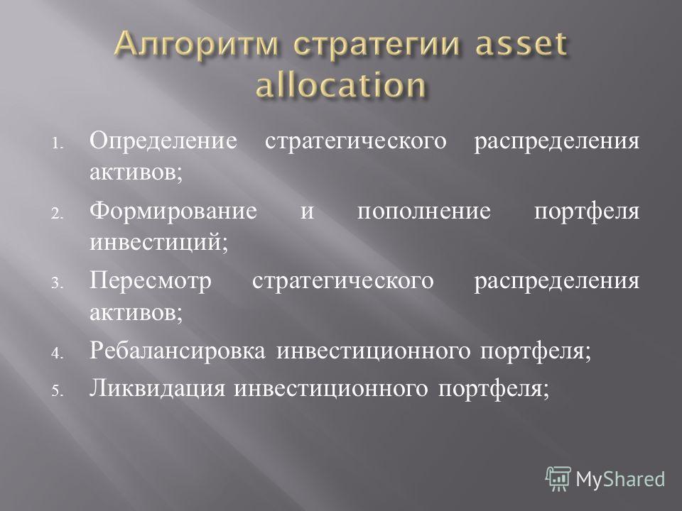 1. Определение стратегического распределения активов ; 2. Формирование и пополнение портфеля инвестиций ; 3. Пересмотр стратегического распределения активов ; 4. Ребалансировка инвестиционного портфеля ; 5. Ликвидация инвестиционного портфеля ;