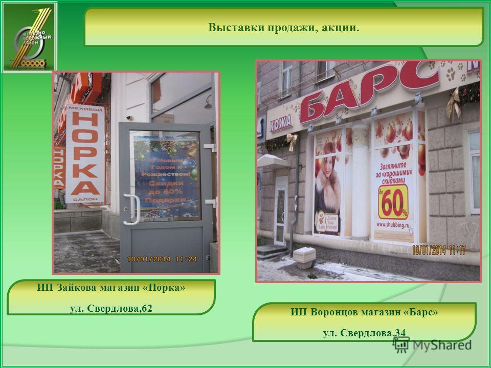 Выставки продажи, акции. ИП Воронцов магазин «Барс» ул. Свердлова,34 ИП Зайкова магазин «Норка» ул. Свердлова,62