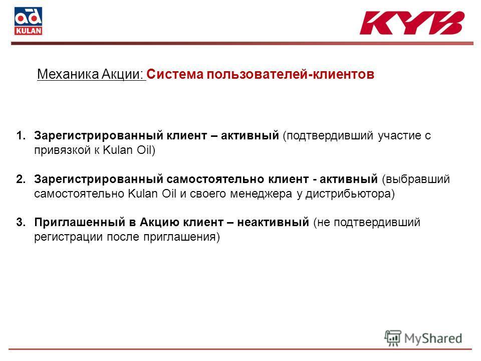 1. Зарегистрированный клиент – активный (подтвердивший участие с привязкой к Kulan Oil) 2. Зарегистрированный самостоятельно клиент - активный (выбравший самостоятельно Kulan Oil и своего менеджера у дистрибьютора) 3. Приглашенный в Акцию клиент – не