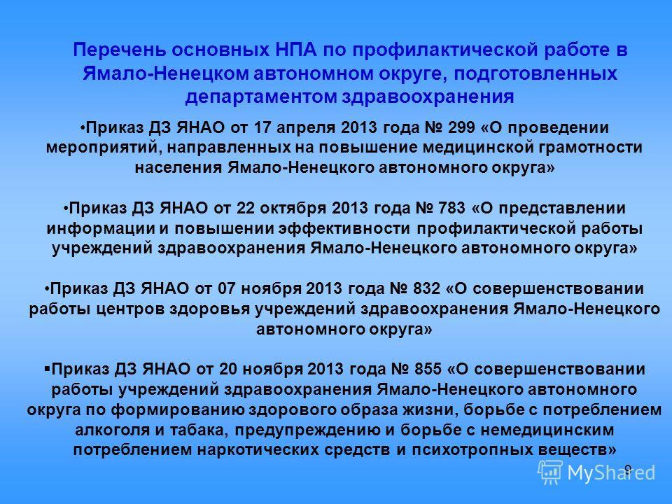 9 Перечень основных НПА по профилактической работе в Ямало-Ненецком автономном округе, подготовленных департаментом здравоохранения Приказ ДЗ ЯНАО от 17 апреля 2013 года 299 «О проведении мероприятий, направленных на повышение медицинской грамотности