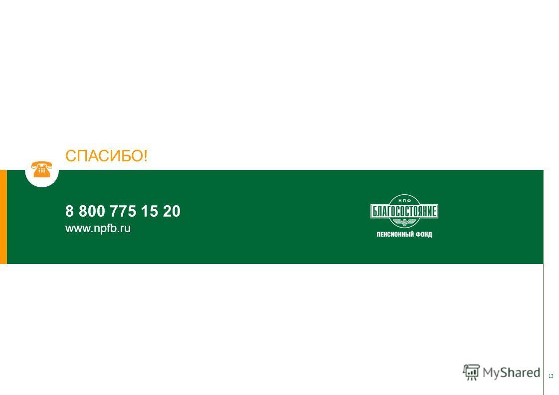 СПАСИБО! 8 800 775 15 20 www.npfb.ru 13