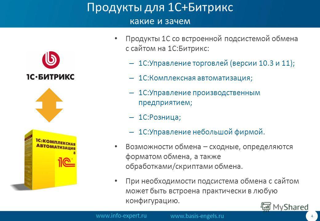 www.info-expert.ru www.basis-engels.ru Продукты для 1С+Битрикс какие и зачем Продукты 1С со встроенной подсистемой обмена с сайтом на 1С:Битрикс: – 1С:Управление торговлей (версии 10.3 и 11); – 1С:Комплексная автоматизация; – 1С:Управление производст