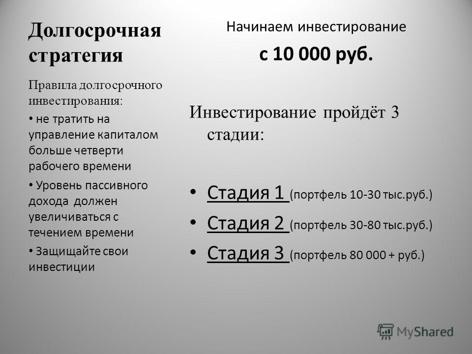 Долгосрочная стратегия Начинаем инвестирование с 10 000 руб. Инвестирование пройдёт 3 стадии: Стадия 1 (портфель 10-30 тыс.руб.) Стадия 2 (портфель 30-80 тыс.руб.) Стадия 3 (портфель 80 000 + руб.) Правила долгосрочного инвестирования: не тратить на