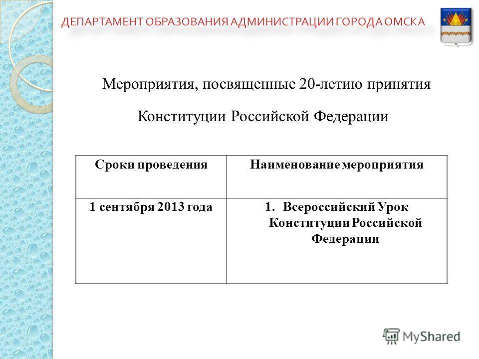 Мероприятия, посвященные 20-летию принятия Конституции Российской Федерации Сроки проведения Наименование мероприятия 1 сентября 2013 года 1. Всероссийский Урок Конституции Российской Федерации