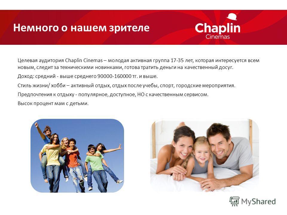 Целевая аудитория Chaplin Cinemas – молодая активная группа 17-35 лет, которая интересуется всем новым, следит за техническими новинками, готова тратить деньги на качественный досуг. Доход: средний - выше среднего 90000-160000 ттг. и выше. Стиль жизн
