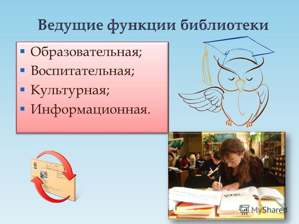 Образовательная; Воспитательная; Культурная; Информационная. Образовательная; Воспитательная; Культурная; Информационная.