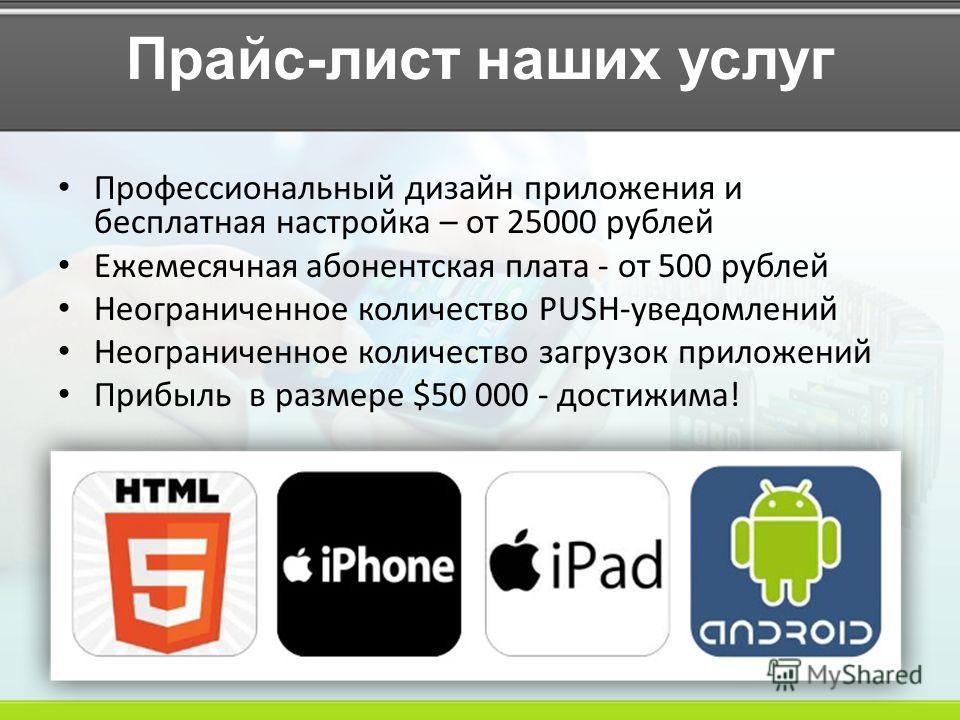Прайс-лист наших услуг Профессиональный дизайн приложения и бесплатная настройка – от 25000 рублей Ежемесячная абонентская плата - от 500 рублей Неограниченное количество PUSH-уведомлений Неограниченное количество загрузок приложений Прибыль в размер