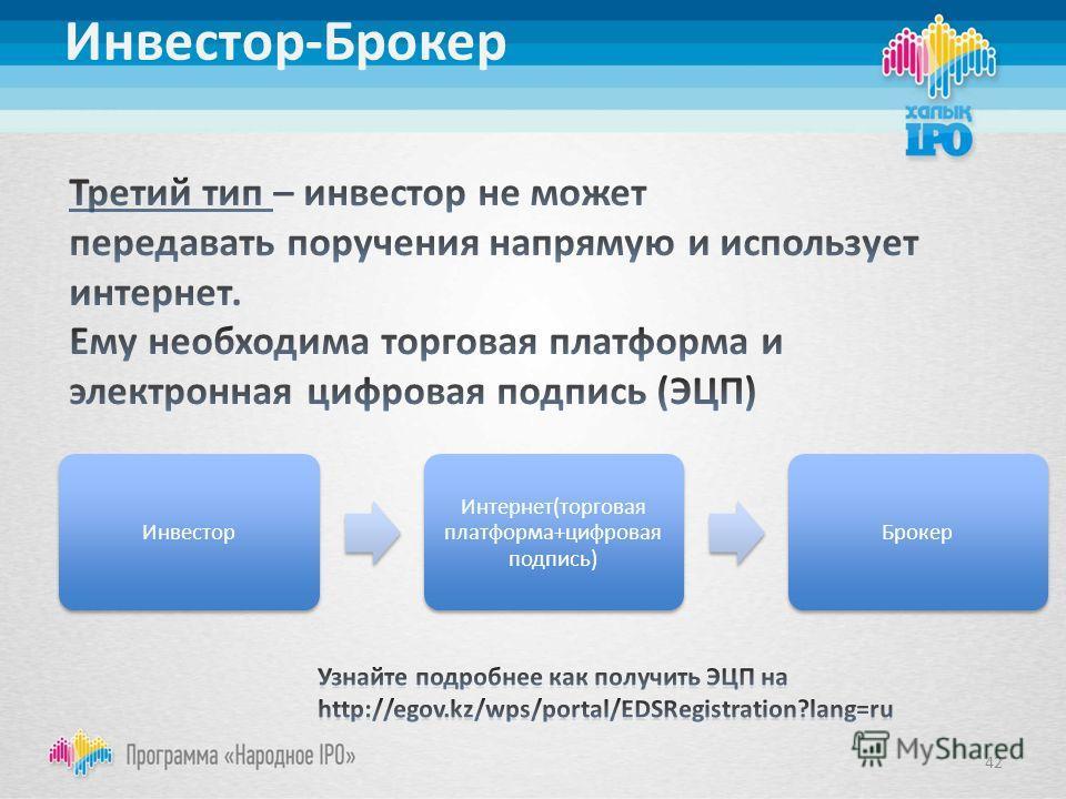 Инвестор-Брокер Инвестор Интернет(торговая платформа+цифровая подпись) Брокер 42