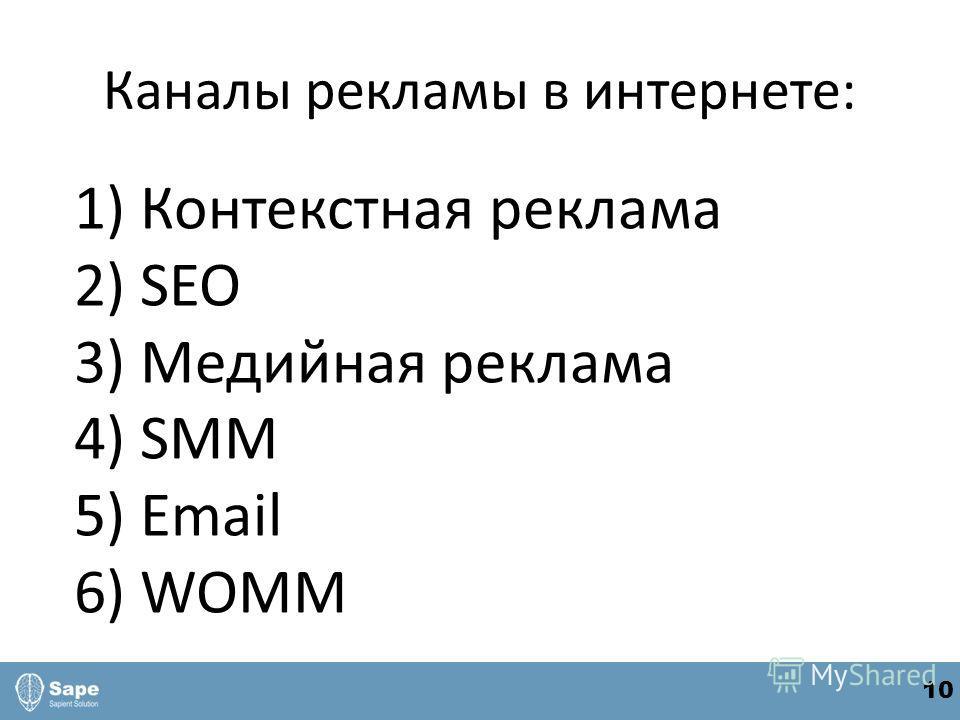 Каналы рекламы в интернете: 1) Контекстная реклама 2) SEO 3) Медийная реклама 4) SMM 5) Email 6) WOMM 10