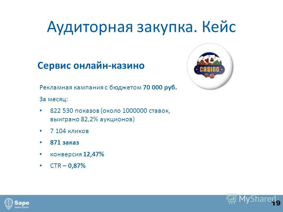 Аудиторная закупка. Кейс Рекламная кампания с бюджетом 70 000 руб. За месяц: 822 530 показов (около 1000000 ставок, выиграно 82,2% аукционов) 7 104 кликов 871 заказ конверсия 12,47% CTR – 0,87% Сервис онлайн-казино 19