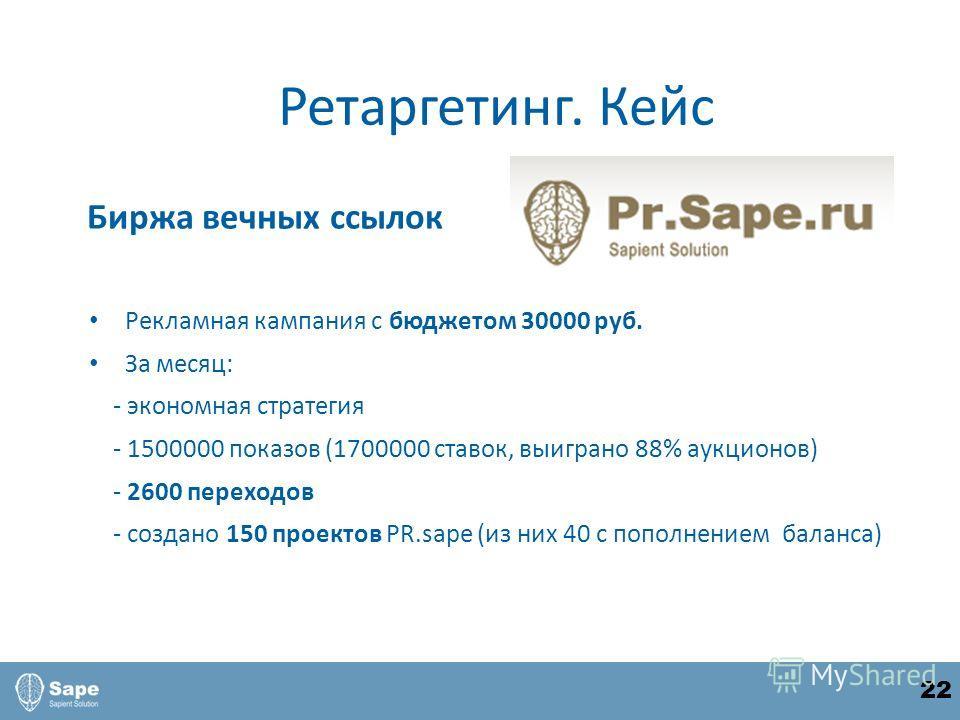 Биржа вечных ссылок Рекламная кампания с бюджетом 30000 руб. За месяц: - экономная стратегия - 1500000 показов (1700000 ставок, выиграно 88% аукционов) - 2600 переходов - создано 150 проектов PR.sape (из них 40 с пополнением баланса) Ретаргетинг. Кей
