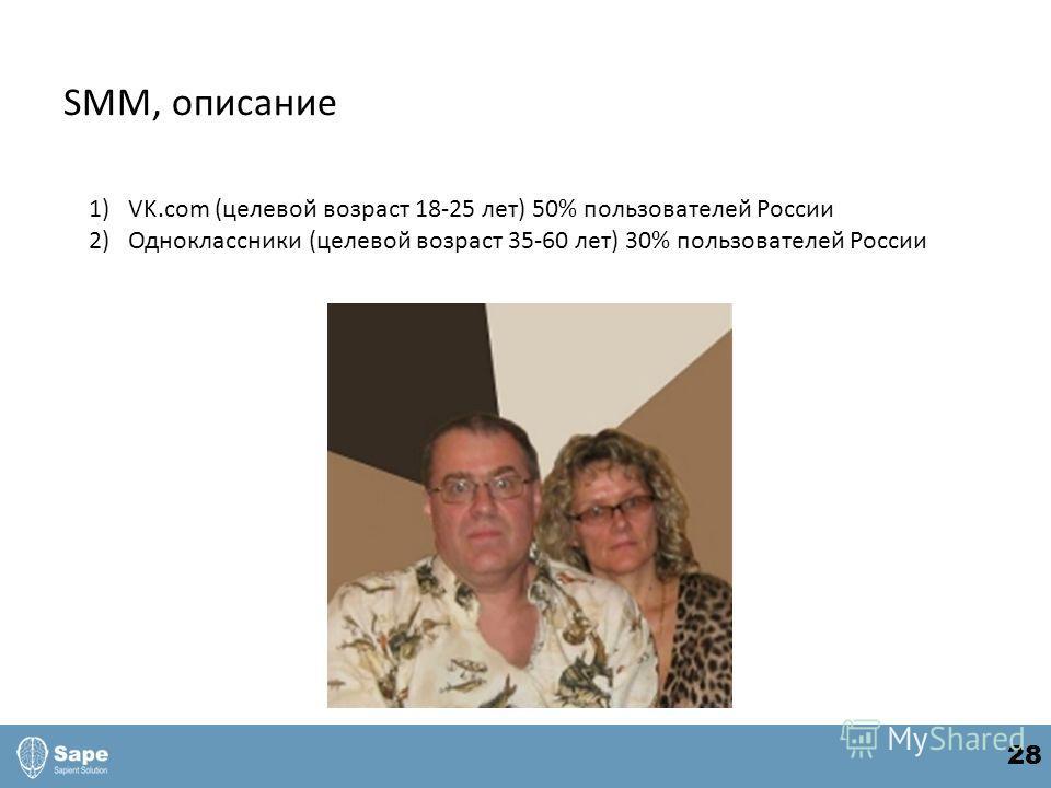 SMM, описание 1)VK.com (целевой возраст 18-25 лет) 50% пользователей России 2)Одноклассники (целевой возраст 35-60 лет) 30% пользователей России 28