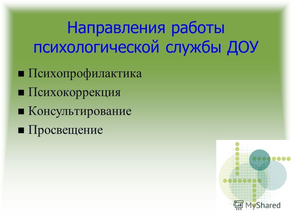 Направления работы психологической службы ДОУ Психопрофилактика Психокоррекция Консультирование Просвещение
