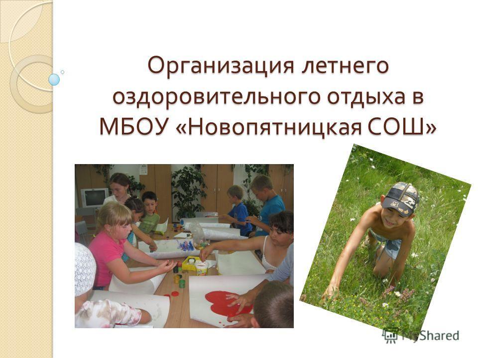 Организация летнего оздоровительного отдыха в МБОУ « Новопятницкая СОШ »
