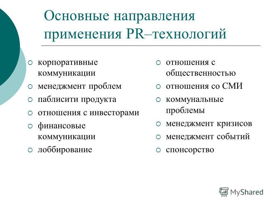 Основные направления применения PR–технологий корпоративные коммуникации менеджмент проблем паблисити продукта отношения с инвесторами финансовые коммуникации лоббирование отношения с общественностью отношения со СМИ коммунальные проблемы менеджмент