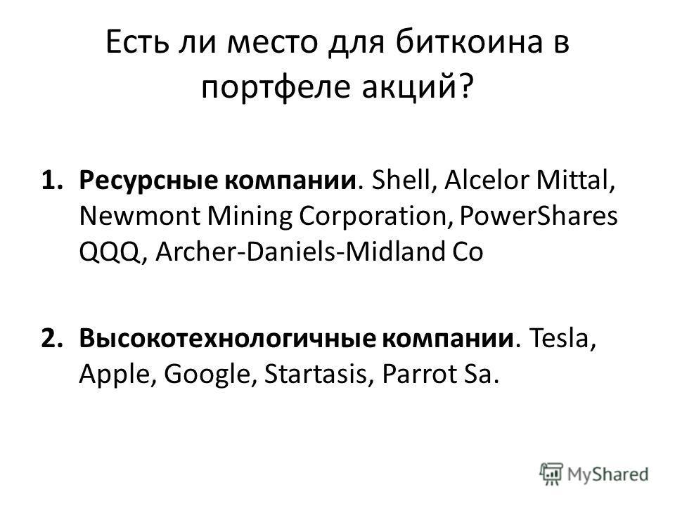 Есть ли место для биткоина в портфеле акций? 1. Ресурсные компании. Shell, Alcelor Mittal, Newmont Mining Corporation, PowerShares QQQ, Archer-Daniels-Midland Co 2. Высокотехнологичные компании. Tesla, Apple, Google, Startasis, Parrot Sa.