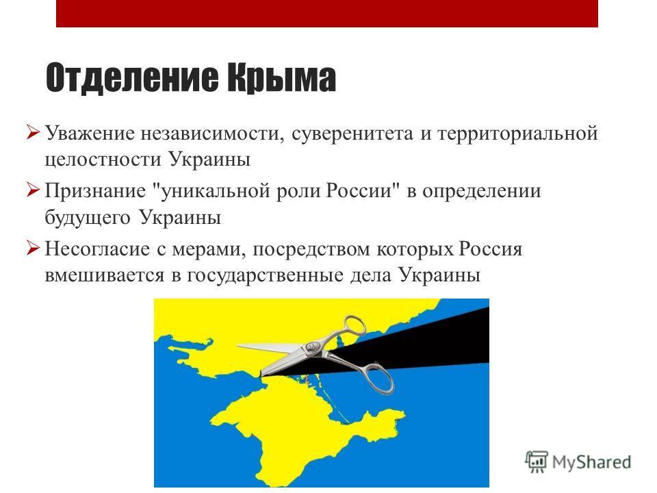 Отделение Крыма Уважение независимости, суверенитета и территориальной целостности Украины Признание уникальной роли России в определении будущего Украины Несогласие с мерами, посредством которых Россия вмешивается в государственные дела Украины