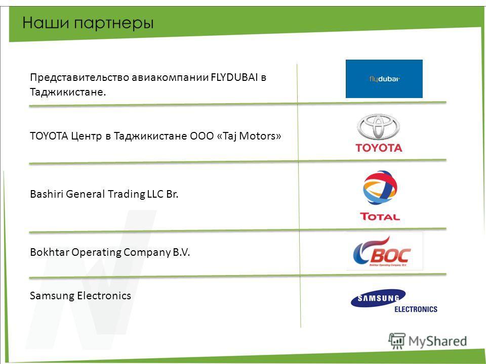 Наши партнеры Представительство авиакомпании FLYDUBAI в Таджикистане. TOYOTA Центр в Таджикистане ООО «Taj Motors» Bashiri General Trading LLC Br. Bokhtar Operating Company B.V. Samsung Electronics