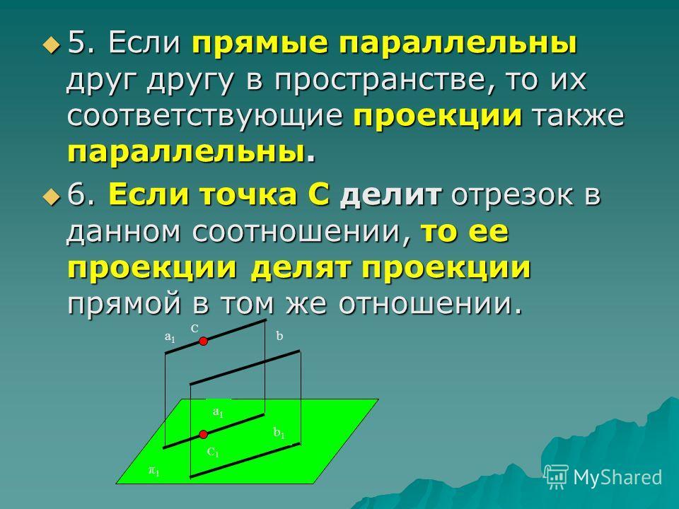 5. Если прямые параллельны друг другу в пространстве, то их соответствующие проекции также параллельны. 5. Если прямые параллельны друг другу в пространстве, то их соответствующие проекции также параллельны. 6. Если точка С делит отрезок в данном соо
