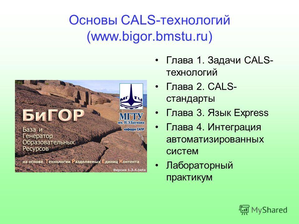 Основы CALS-технологий (www.bigor.bmstu.ru) Глава 1. Задачи CALS- технологий Глава 2. CALS- стандарты Глава 3. Язык Express Глава 4. Интеграция автоматизированных систем Лабораторный практикум