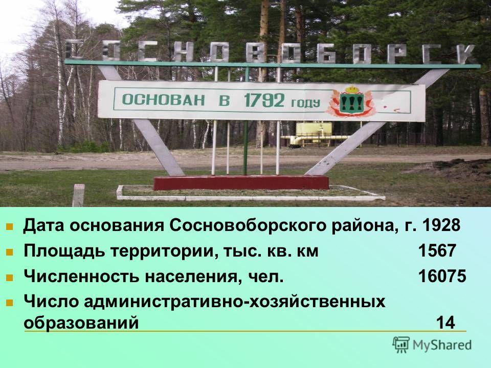 Дата основания Сосновоборского района, г. 1928 Площадь территории, тыс. кв. км 1567 Численность населения, чел. 16075 Число административно-хозяйственных образований 14