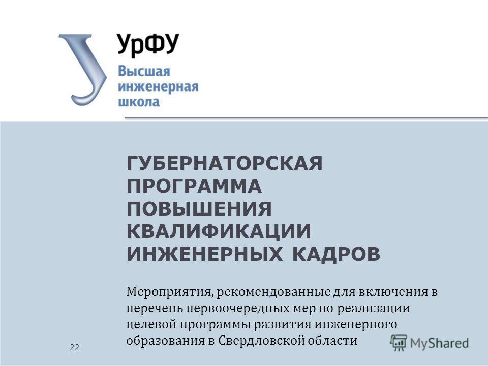 Мероприятия, рекомендованные для включения в перечень первоочередных мер по реализации целевой программы развития инженерного образования в Свердловской области ГУБЕРНАТОРСКАЯ ПРОГРАММА ПОВЫШЕНИЯ КВАЛИФИКАЦИИ ИНЖЕНЕРНЫХ КАДРОВ 22