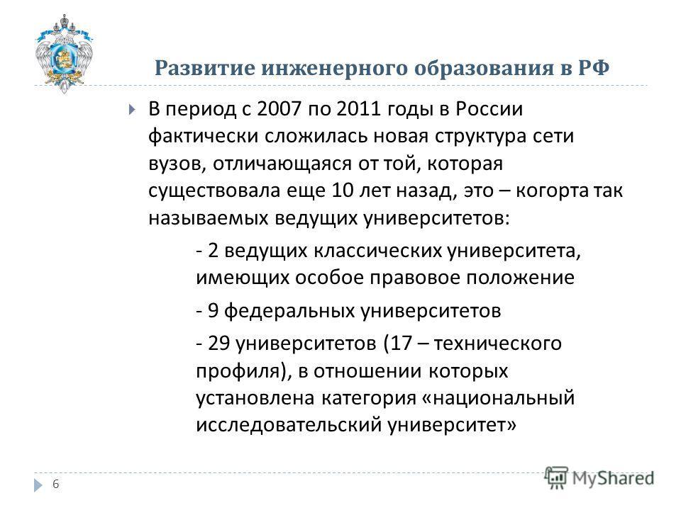 6 В период с 2007 по 2011 годы в России фактически сложилась новая структура сети вузов, отличающаяся от той, которая существовала еще 10 лет назад, это – когорта так называемых ведущих университетов : - 2 ведущих классических университета, имеющих о