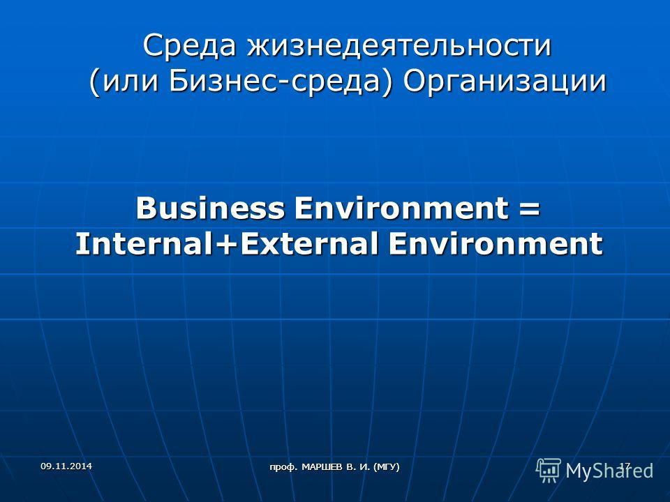 Среда жизнедеятельности (или Бизнес-среда) Организации Business Environment = Internal+External Environment 09.11.201417 проф. МАРШЕВ В. И. (МГУ)