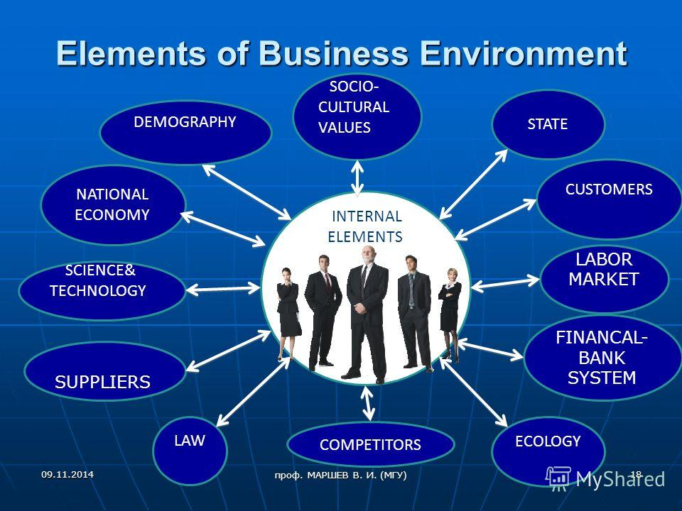 Elements of Business Environment SCIENCE& TECHNOLOGY ECOLOGY COMPETITORS DEMOGRAPHY INTERNAL ELEMENTS CUSTOMERS SOCIO- CULTURAL VALUES LAW LABOR MARKET NATIONAL ECONOMY STATE SUPPLIERS FINANCAL- BANK SYSTEM 09.11.201418 проф. МАРШЕВ В. И. (МГУ)
