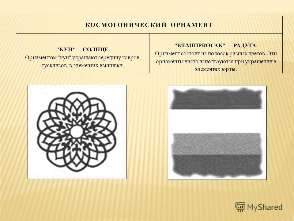 КОСМОГОНИЧЕСКИЙ ОРНАМЕНТ КУН СОЛНЦЕ. Орнаментом кун украшают середину ковров, тускиизов, в элементах вышивки. КЕМПIРКОСАК РАДУГА. Орнамент состоит из полосок разных цветов. Эти орнаменты часто используются при украшении в элементах юрты.