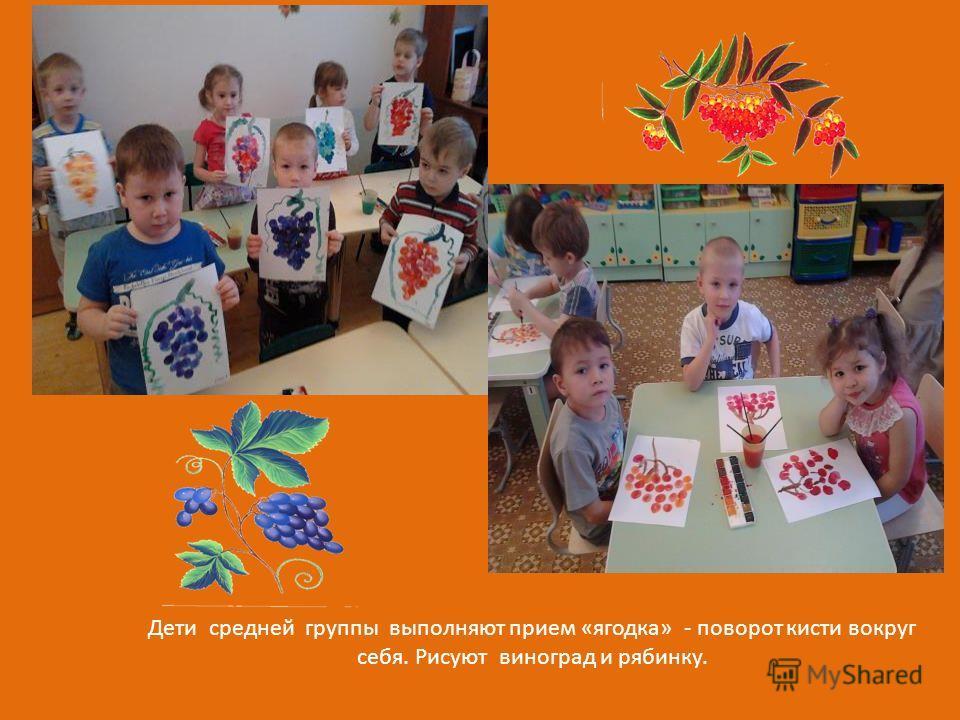 Дети средней группы выполняют прием «ягодка» - поворот кисти вокруг себя. Рисуют виноград и рябинку.