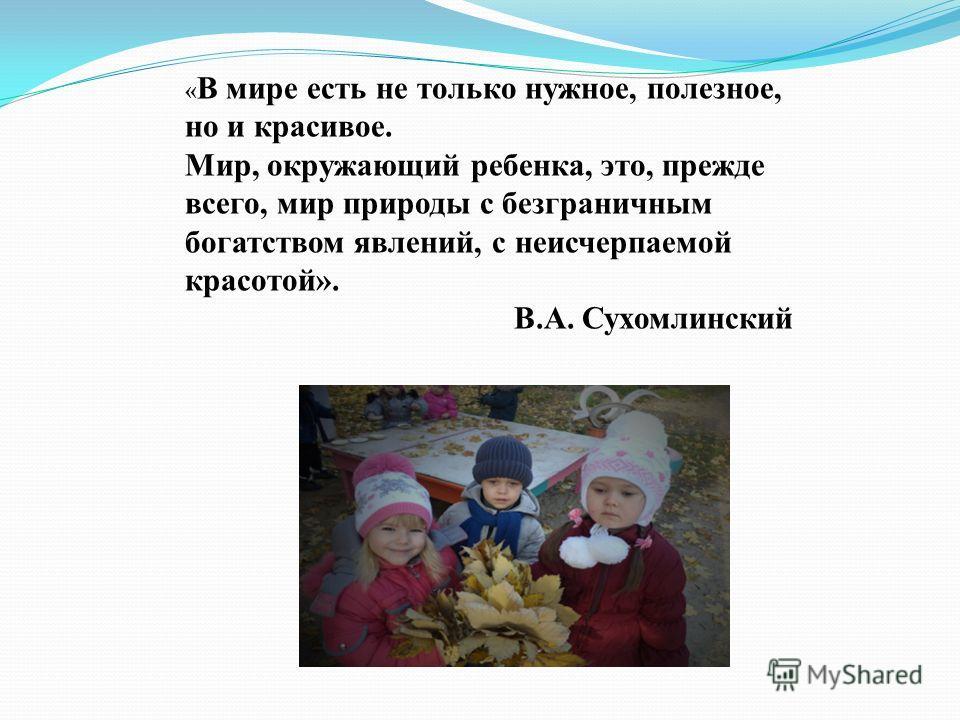 « В мире есть не только нужное, полезное, но и красивое. Мир, окружающий ребенка, это, прежде всего, мир природы с безграничным богатством явлений, с неисчерпаемой красотой». В.А. Сухомлинский