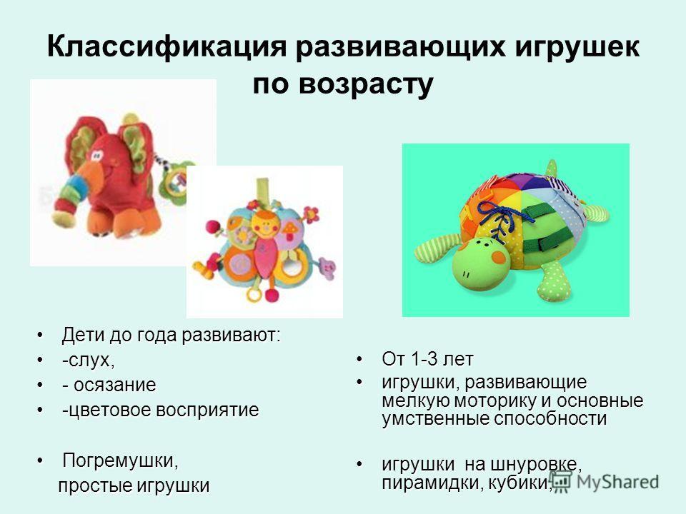 Классификация развивающих игрушек по возрасту Дети до года развивают:Дети до года развивают: -слух,-слух, - осязание- осязание -цветовое восприятие-цветовое восприятие Погремушки,Погремушки, простые игрушки простые игрушки От 1-3 лет От 1-3 лет игруш