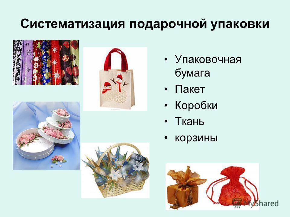 Систематизация подарочной упаковки Упаковочная бумага Пакет Коробки Ткань корзины