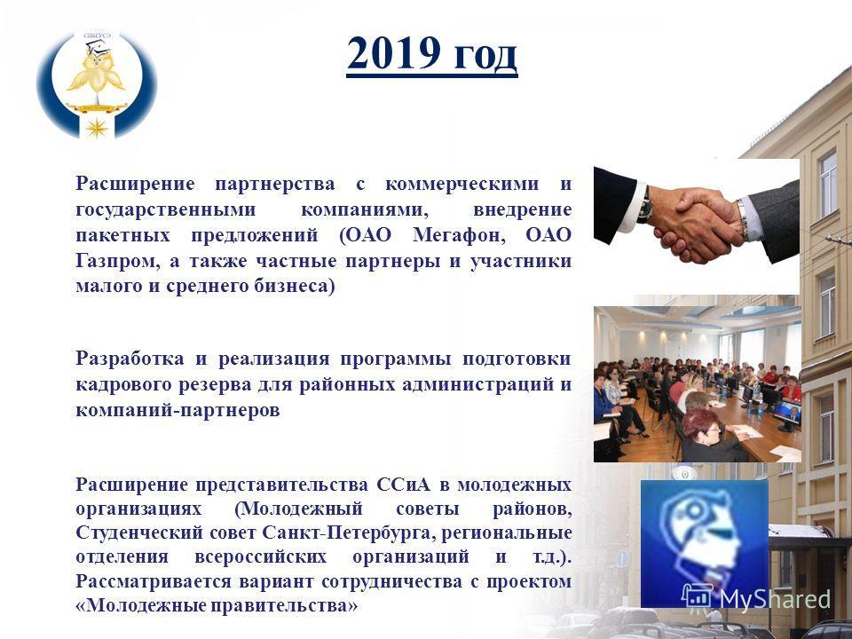 Расширение партнерства с коммерческими и государственными компаниями, внедрение пакетных предложений (ОАО Мегафон, ОАО Газпром, а также частные партнеры и участники малого и среднего бизнеса) 2019 год Разработка и реализация программы подготовки кадр